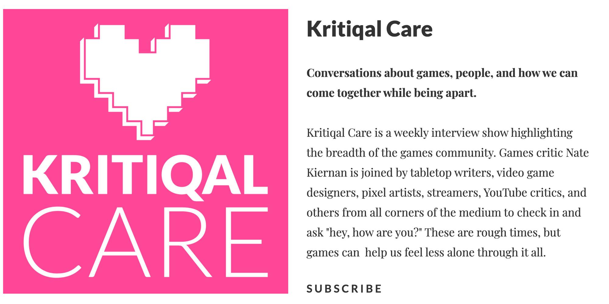 Mutazione Writer & Narrative Designer interviewed on Kritiqal Care
