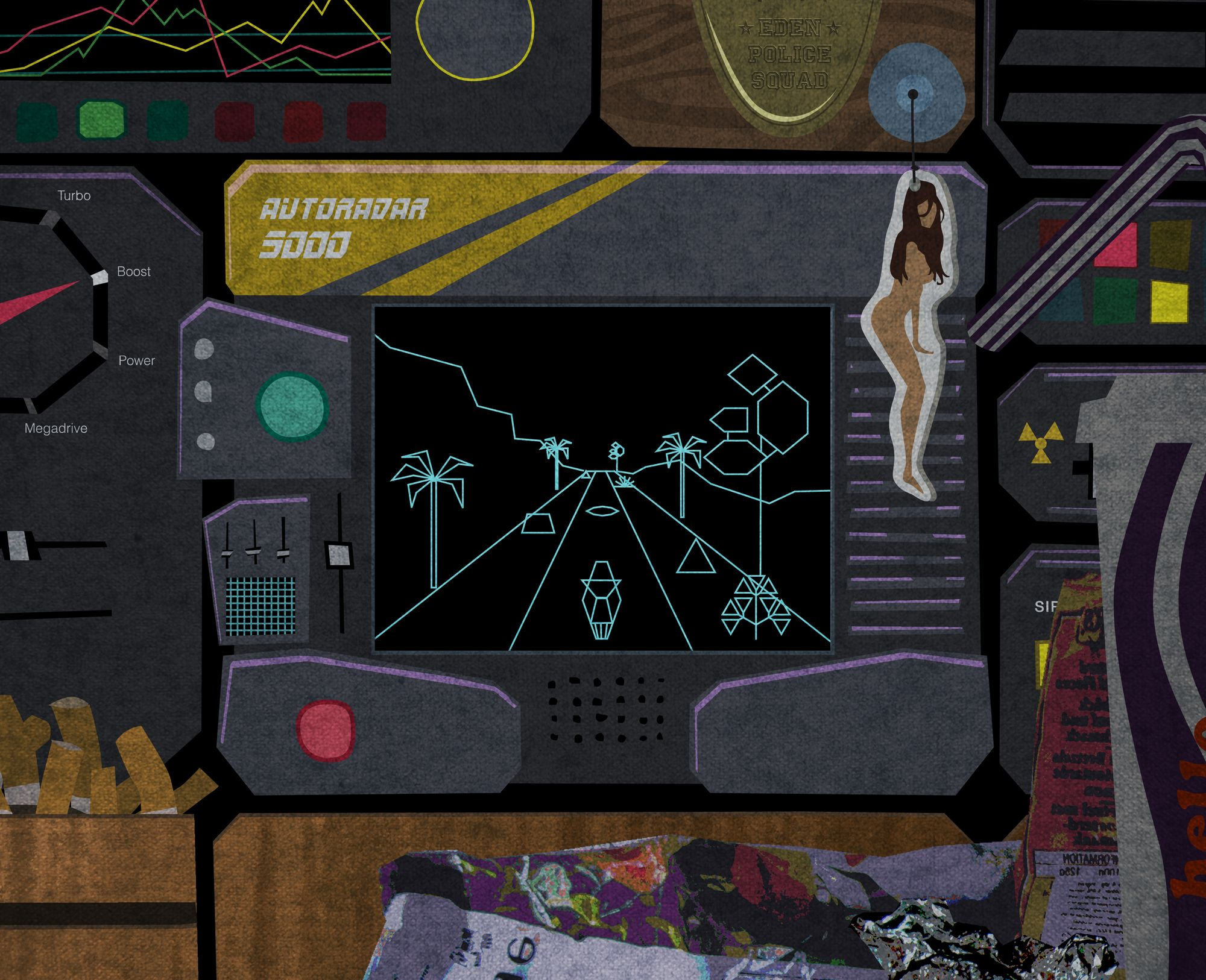 Image of a dashboard of a retro futuristic police car following the player.