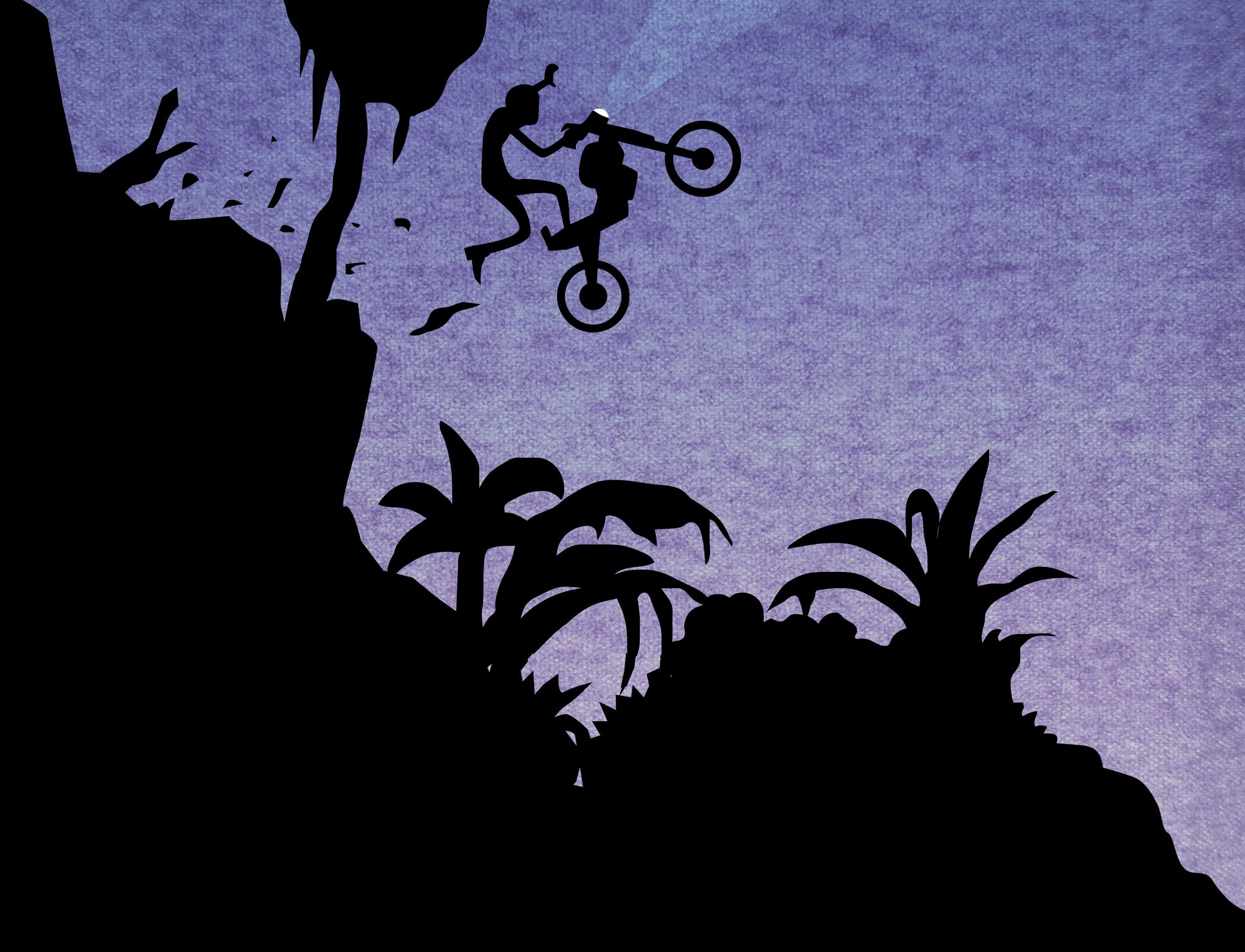 Image of the siluette of a motocyclist crashing down a slope into a dense thicket.