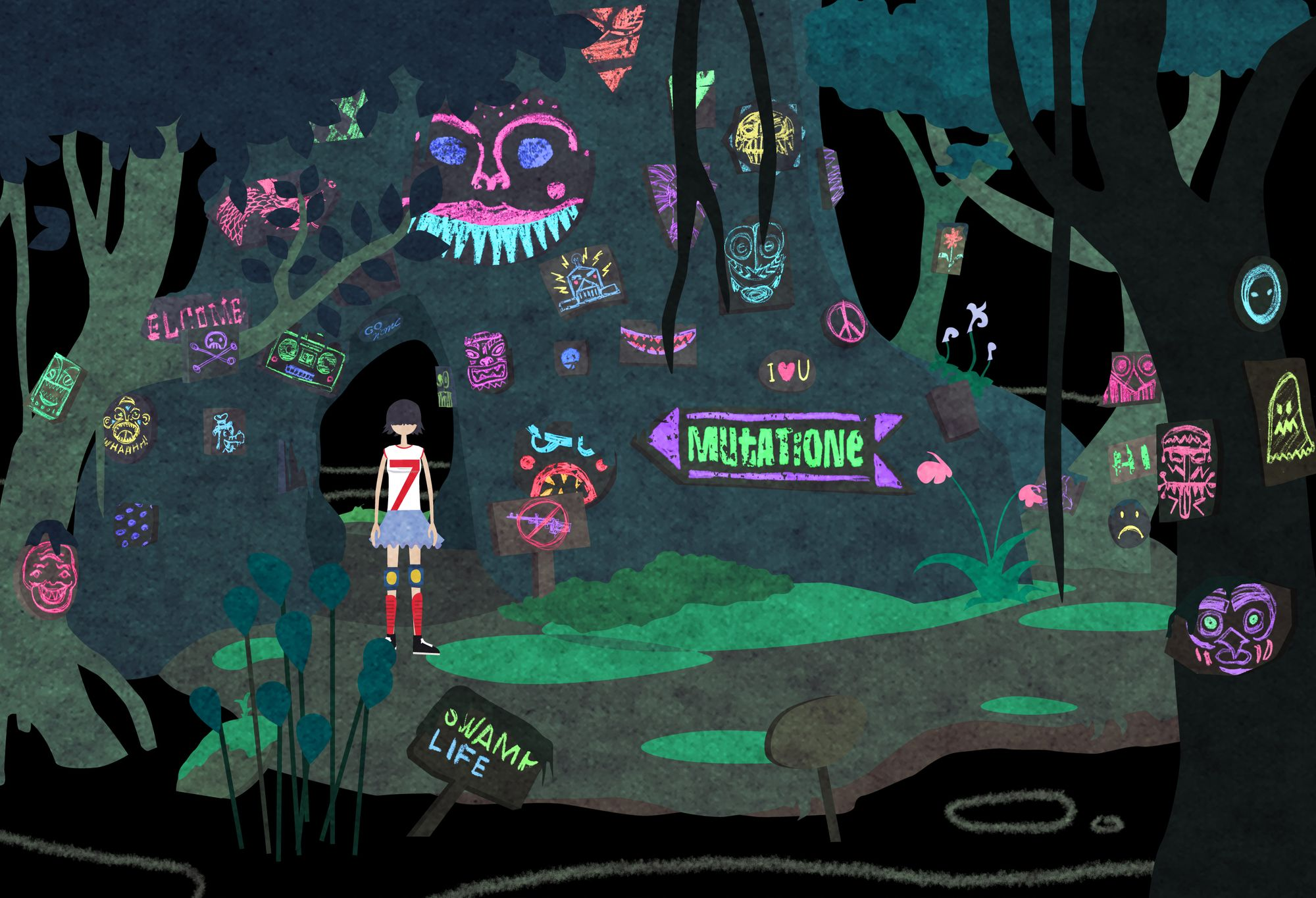 "Image of a discarded player character standing in a swamp scene filled with neon-colored signs, of which one says ""Mutatione"" and points to a tunnel in a treetrunk."