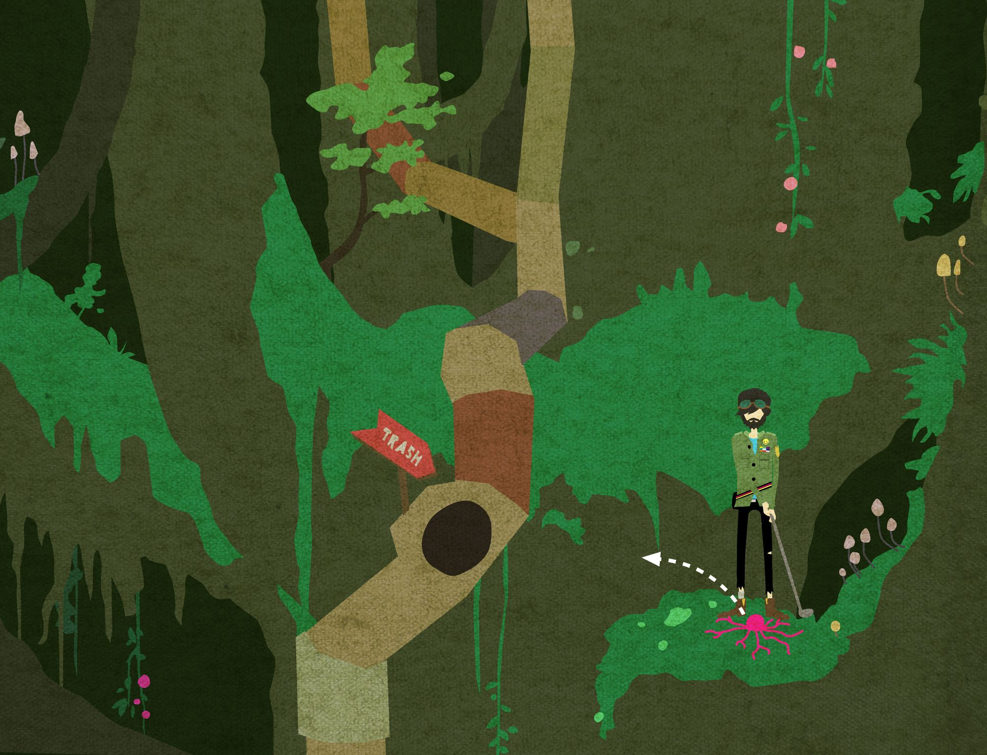 Image of a discarded player character golfing a pink blob into a trash tube on an enormous tree crown.