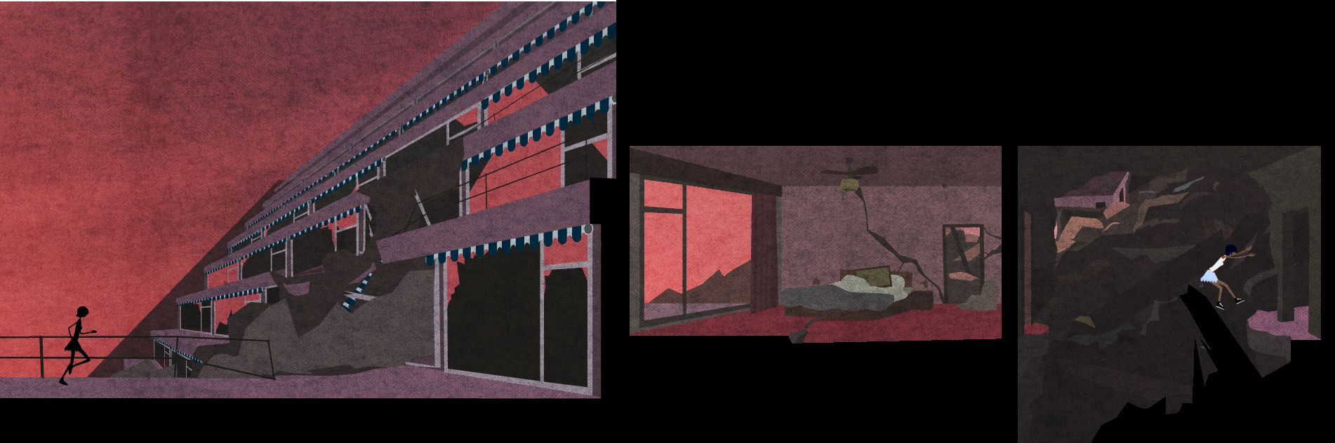 two images of a derelict hotel. left: a view of the outside with Kai running from left to right on a balcony. Right: the view of a devastated hotel room. Kai jumps across a chasm from one side of a corridor to the other.
