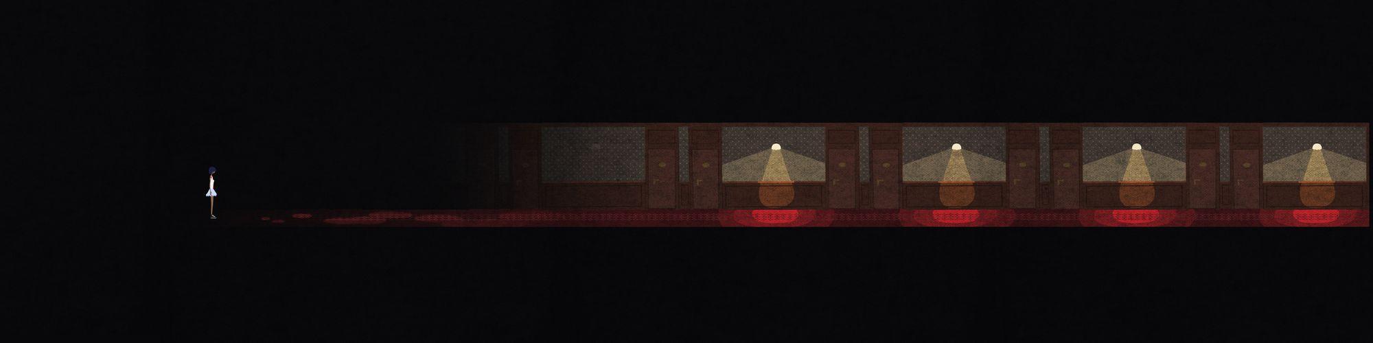A partially lit up hotel corridor