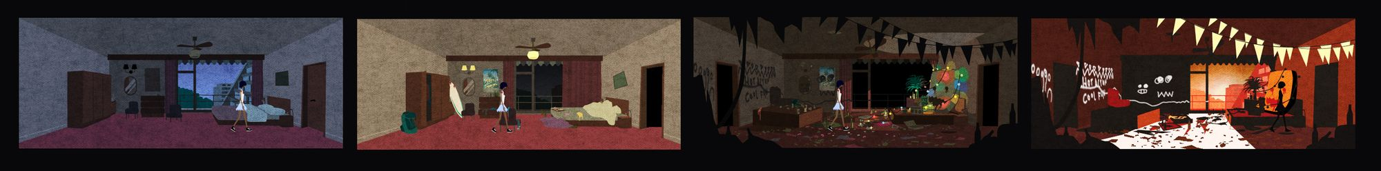 A sequence of images of Kai walking through a changing hotel room.