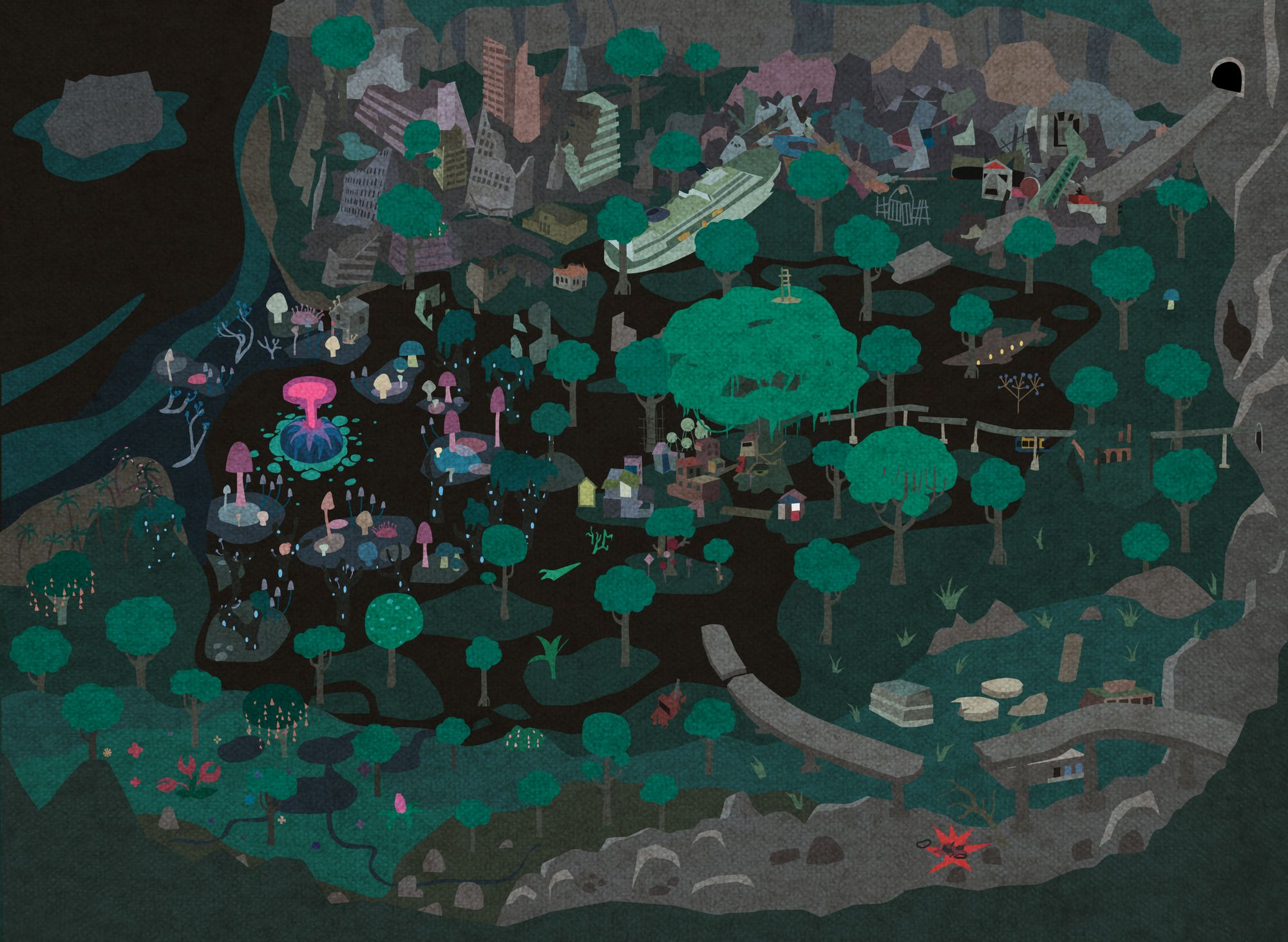 A map of the game world from around 2011. You see the giant tree in the centre, ruins, swamp, a junk yard, a mushroom forest, derelict highways and roads.