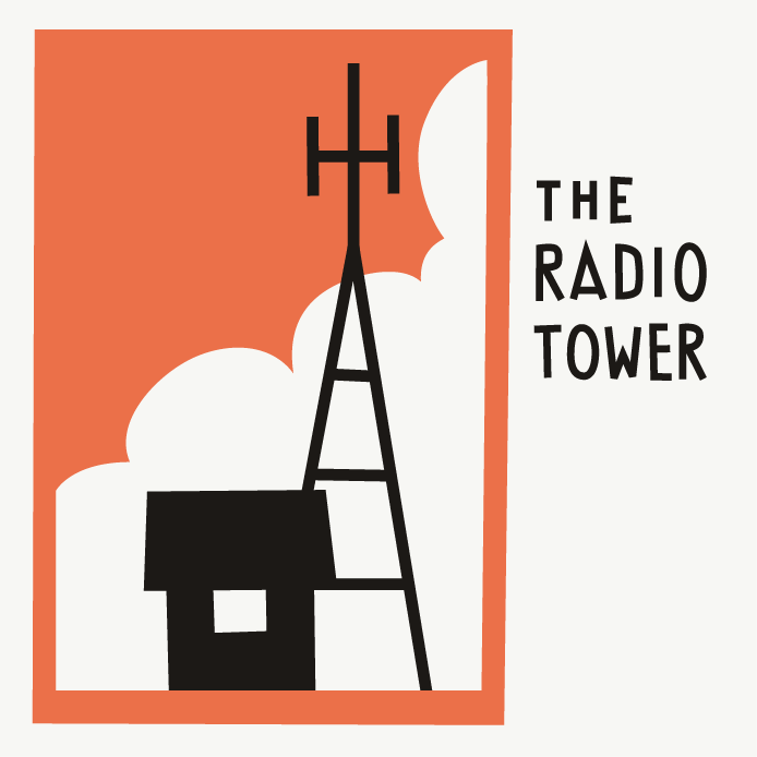 The Radio Tower draft logo, containing a silhouette of house and radio tower in front of some clouds.