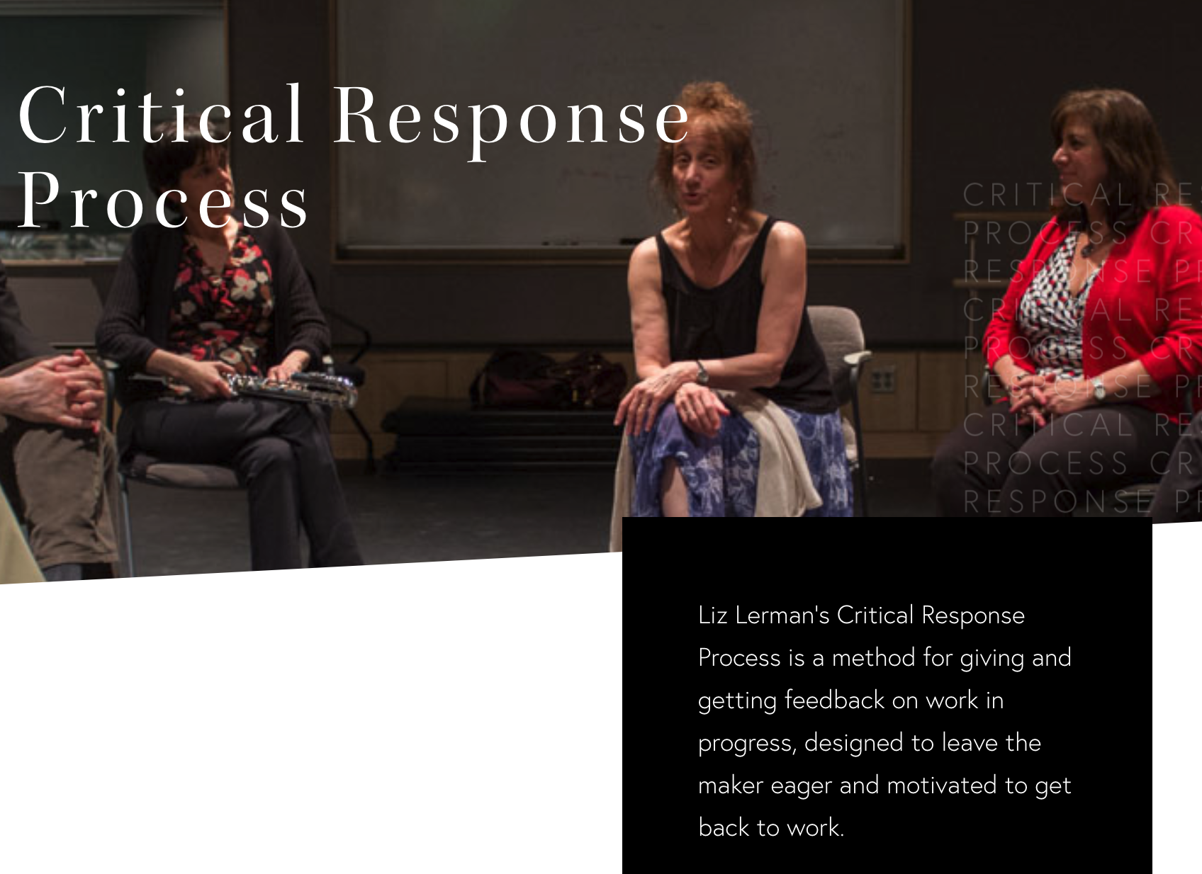A screencap from the image at the top of the Liz Lerman Critical Response Process webpage which shows Liz Lerman leading a workshop