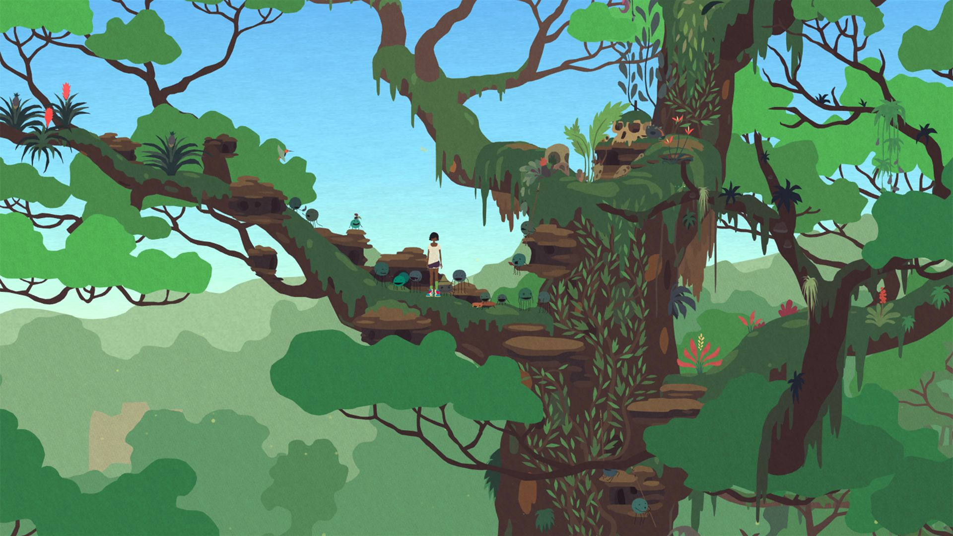 A screenshot from Mutazione which shows Kai - in purple shorts, white tee, with brown skin, and short black hair - standing in a lush green tree top with a number of small round creatures.