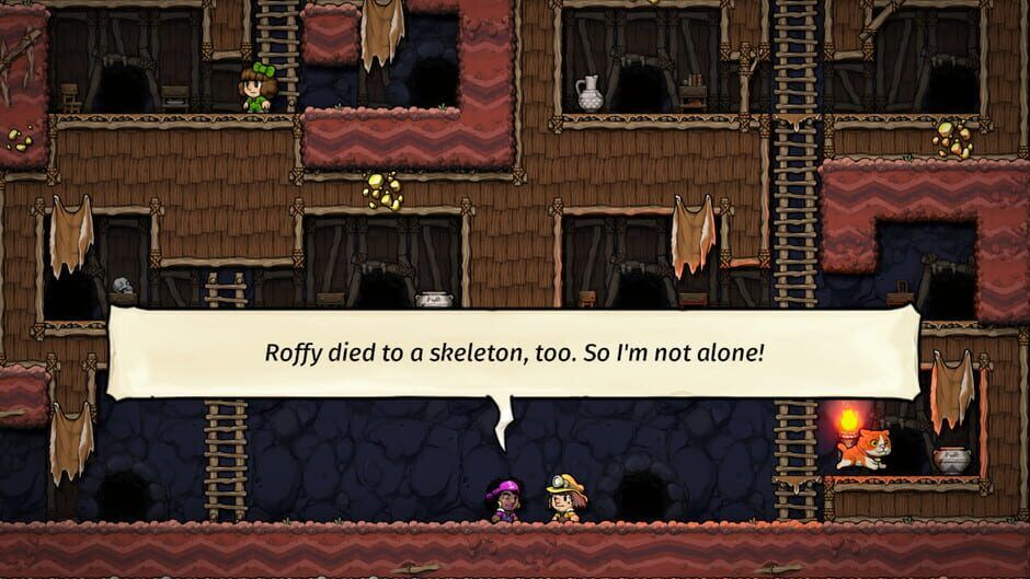 """Two characters with miners' helmets talk in the bottom level of an underground series of platforms connected by wooden ladders, one character says """"Roffy died to a skeleton, too. So I'm not alone!"""" in a speech bubble"""