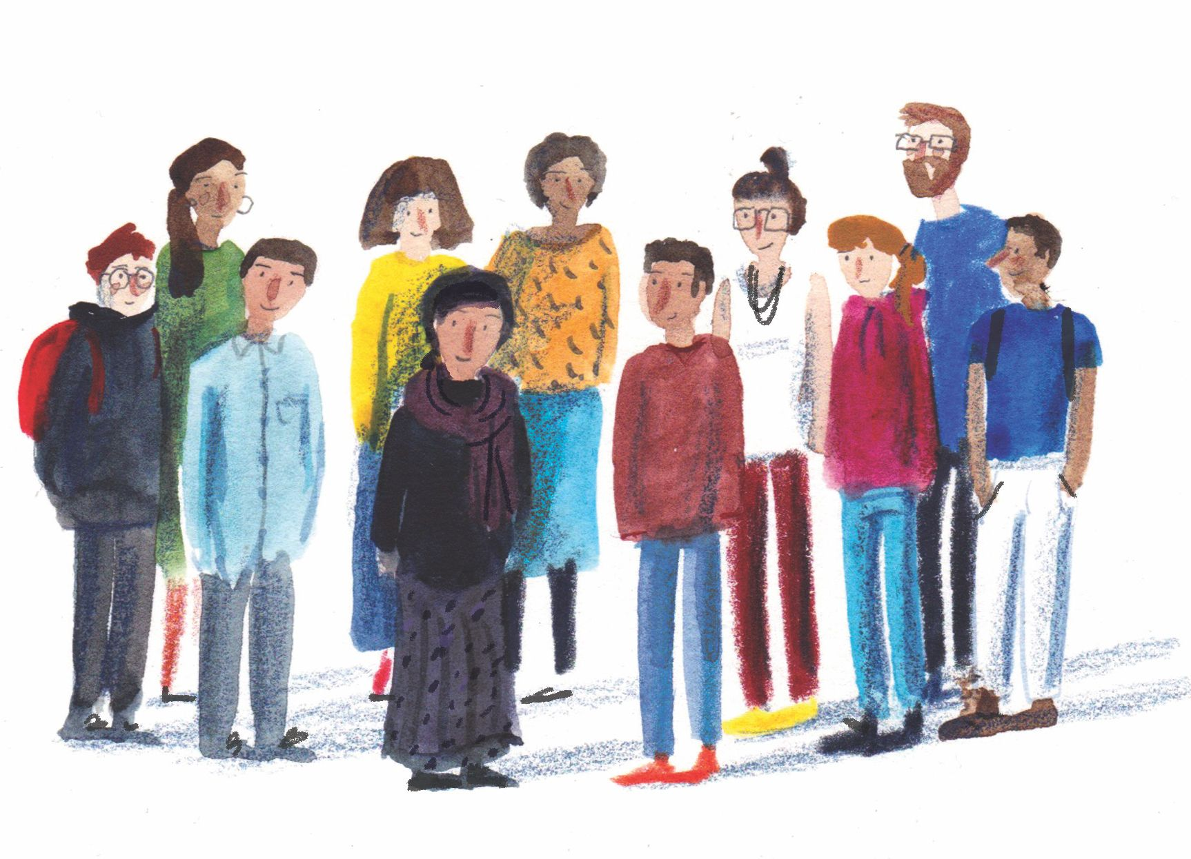 A group of people in modern dress - of various ages, genders, ethnicities - stand together. Illustrated in a rough style with pencil and watercolour