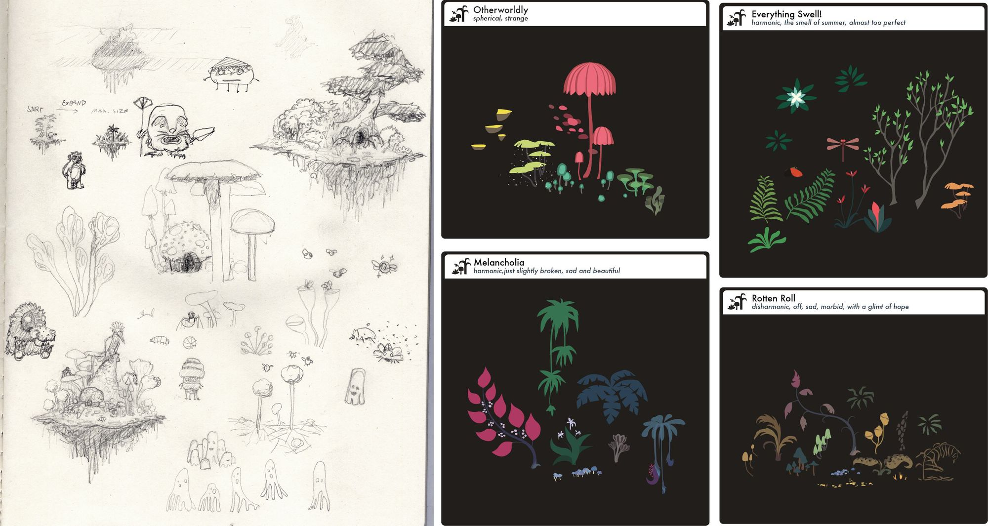 """Left: a sketch of floating gardens and creatures. Right: first concepts of different garden """"moods""""."""