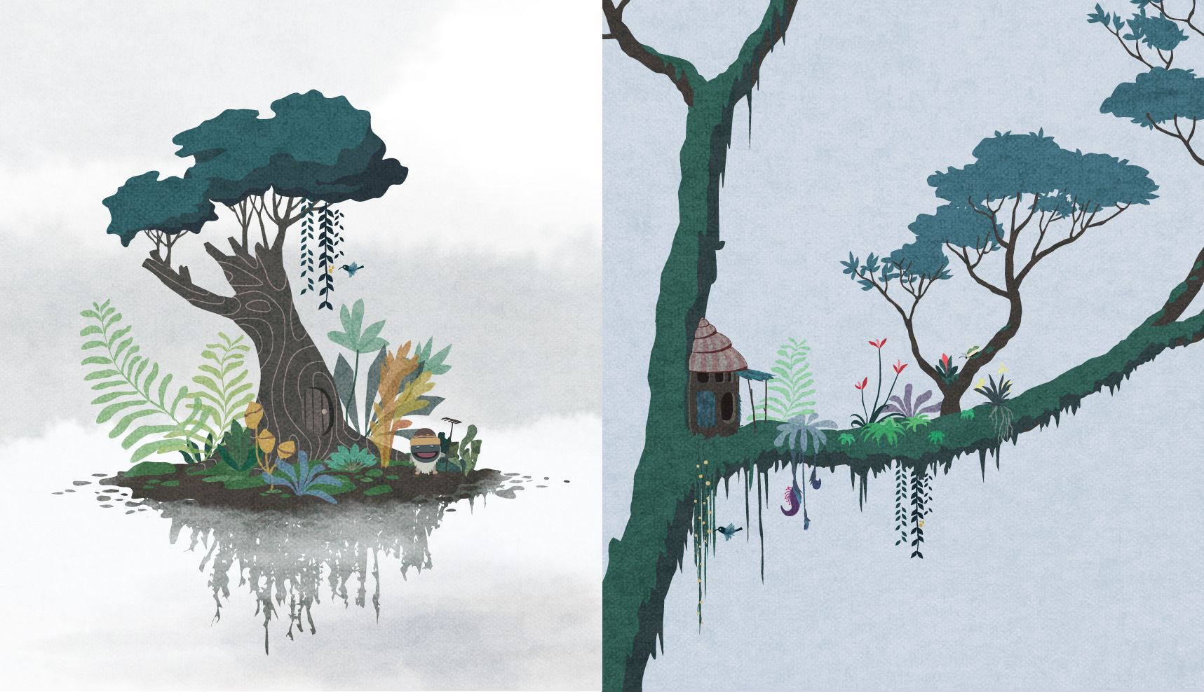 Two early garden concepts: Left - a garden on a floating island in the mist; Right - a garden on a branch