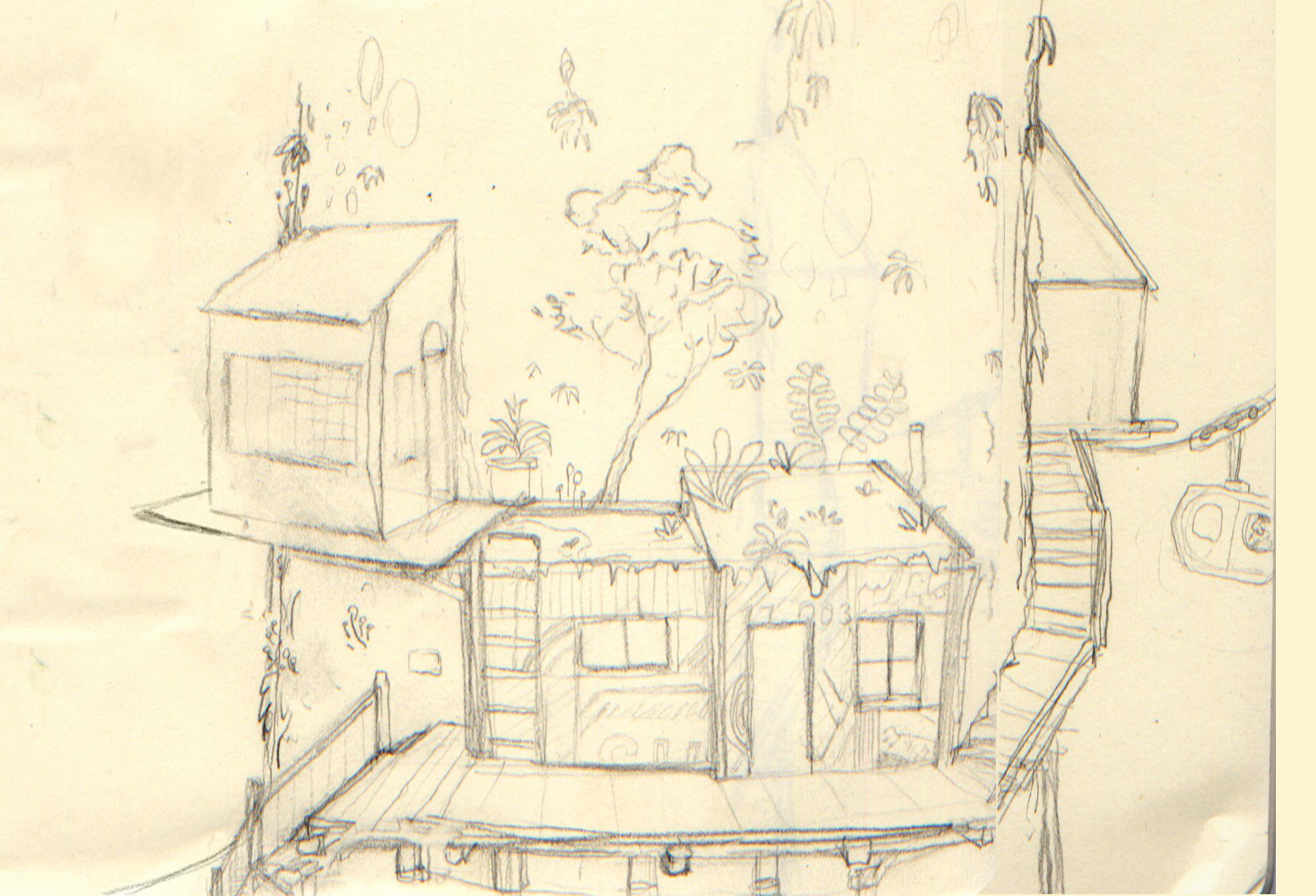 an early sketch of the rooftop garden