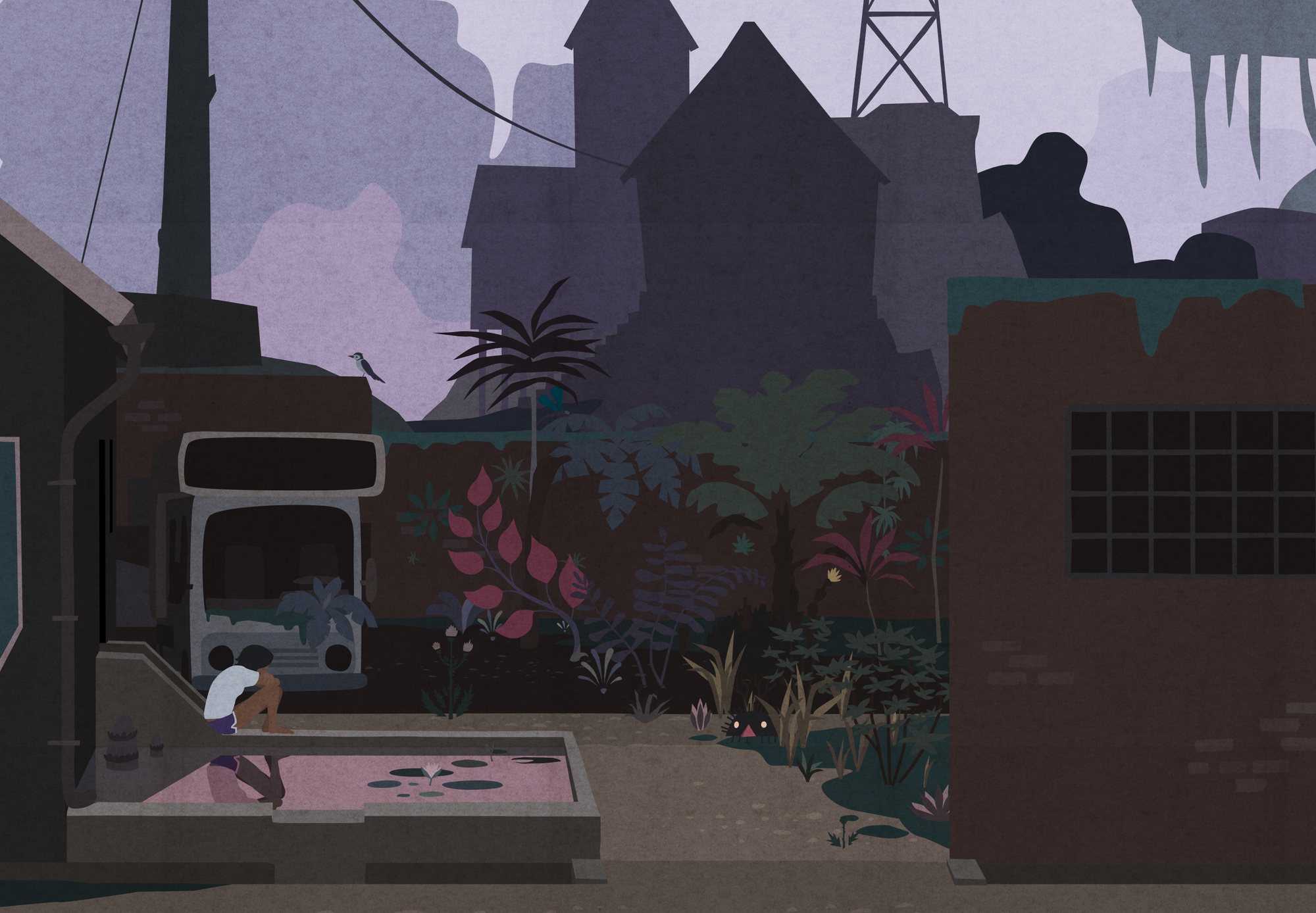An image showing an old version of Tung's garden at dawn with Kai sitting in it.