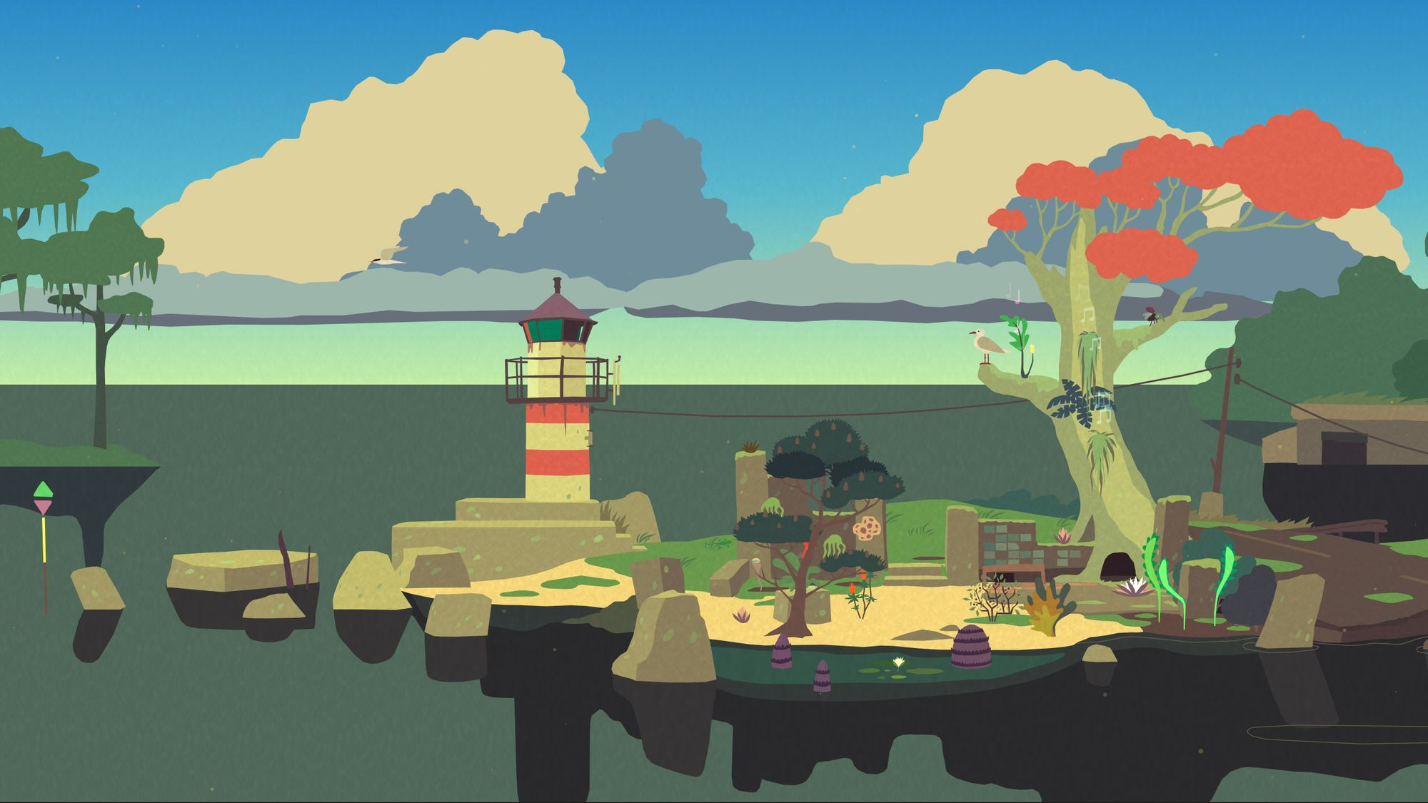 A screen shot from Mutazione - a pier with a run-down lighthouse, a beach, and a tall red-leaved tree. The time of day is early evening, and the beach holds a sandy garden, some plants growing in the water, others on the walls, tree, and sandy soil.
