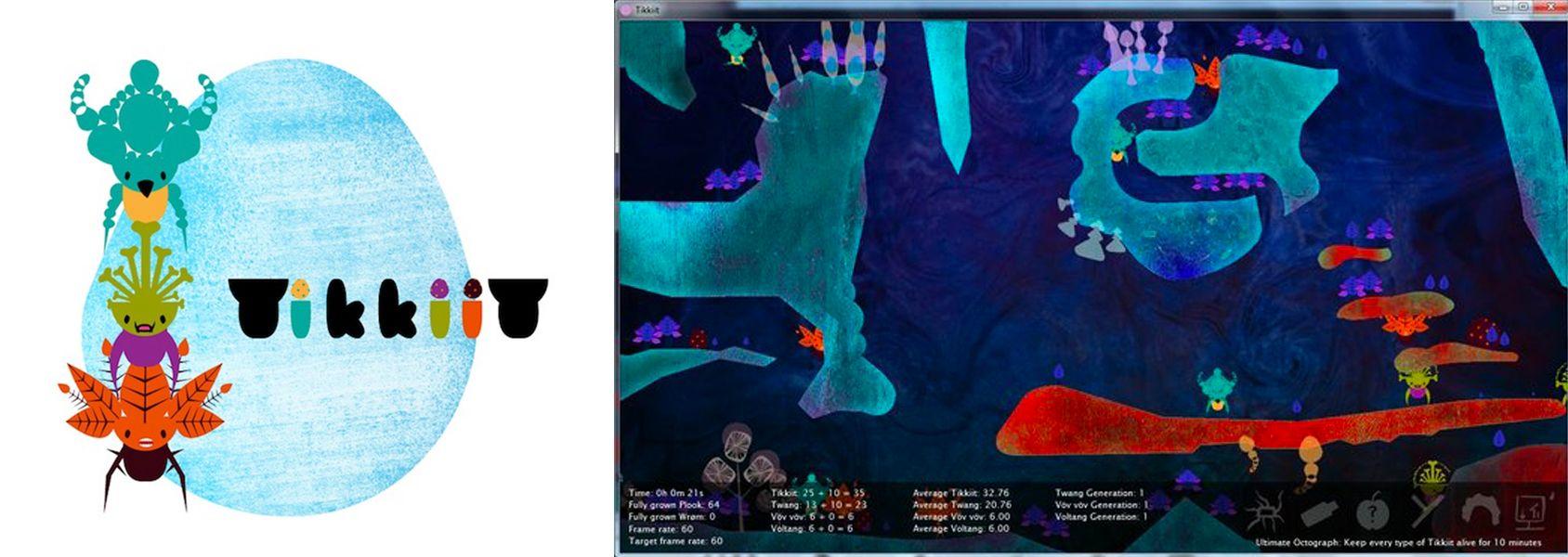 Artwork and screenshot of the game Tikkiit.