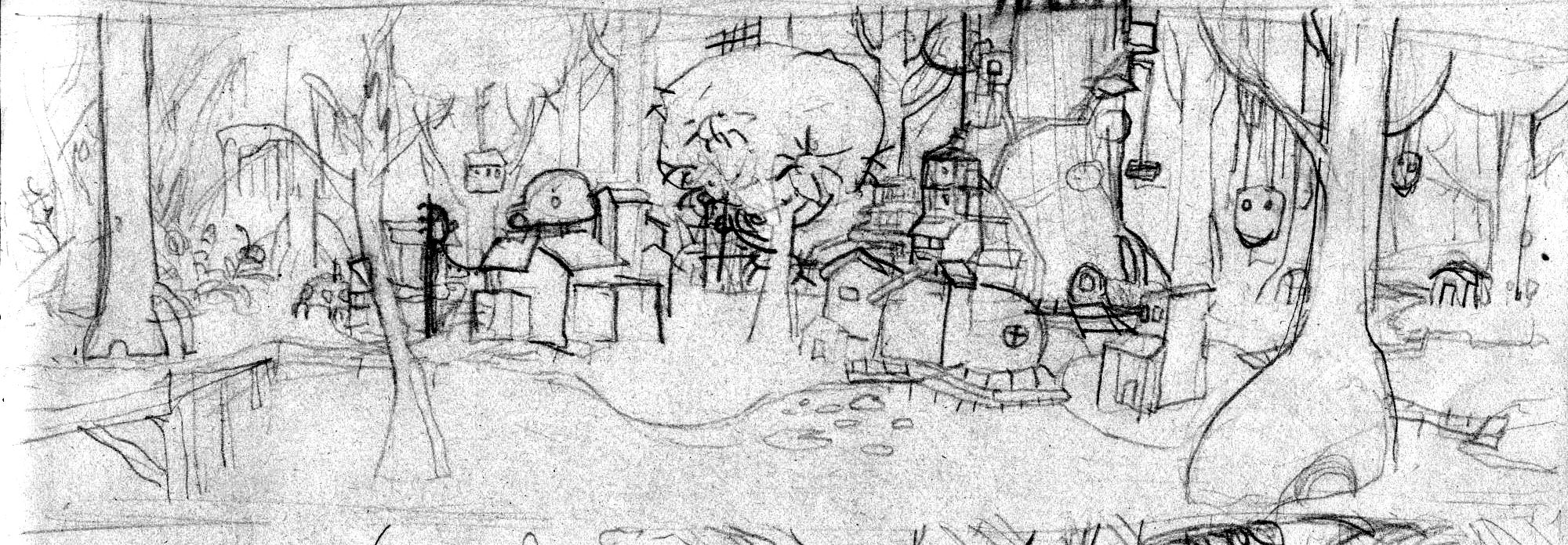 a crude pencil sketch showing a swamp village. A lot a the buildings have a very organic architecture stylr.