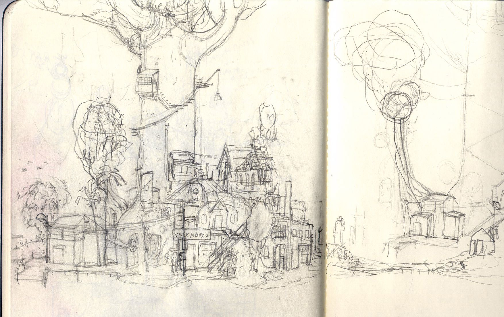 a more compact and clear pencil sketch of Mutazione village.