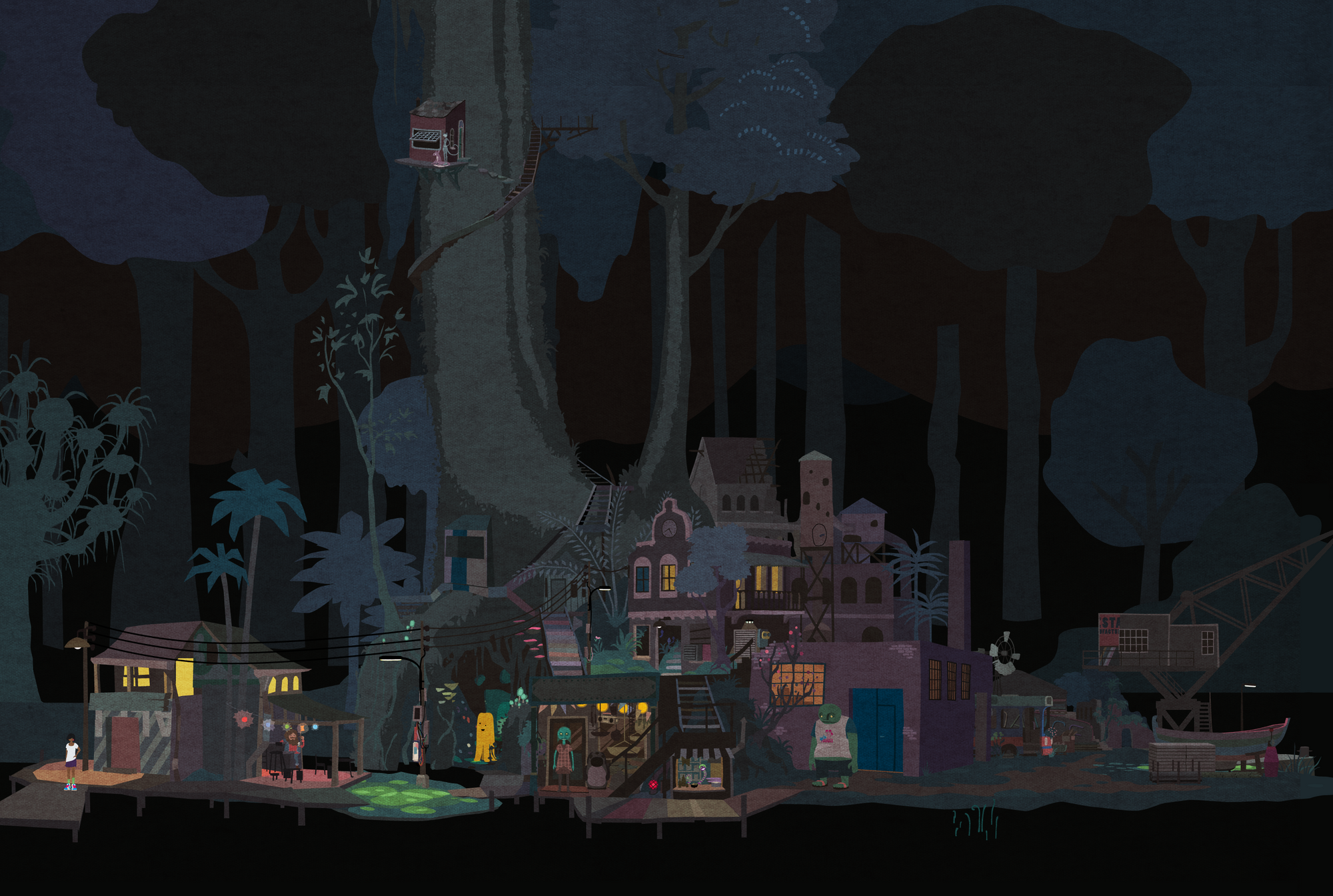 a early concept of Mutazione village in color, by night.