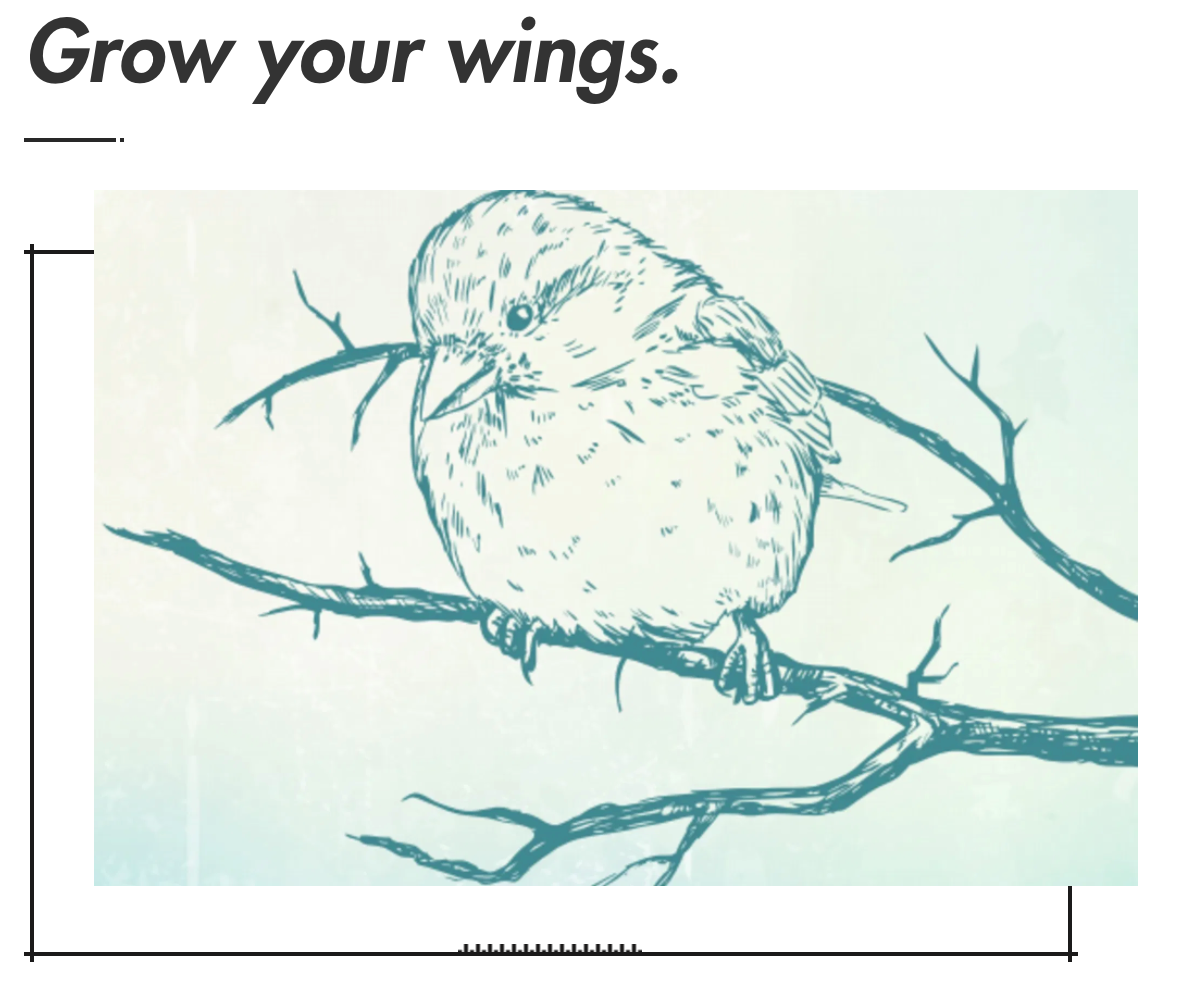 A line drawing in light blue on a plain background sketching a solo sparrow perched on a thin whispy branch.