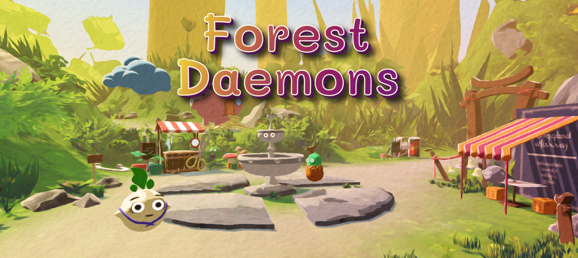 A screenshot of one of Daria's student projects, which she collaborated on with Alexandra. 'Forest Daemons' is the title, and it shows a small forest scene with cute floating characters.