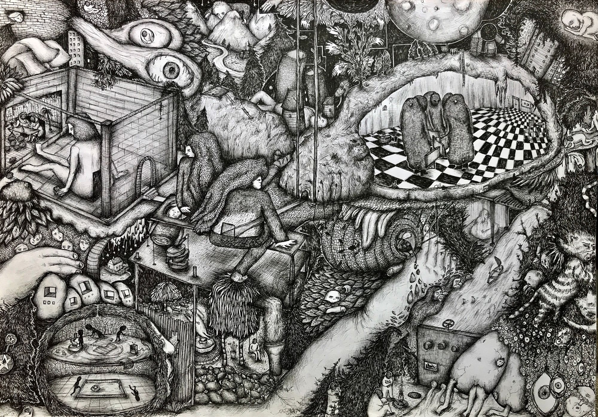 A complex escher-esque pen drawing in black and white of underground characters in strange and grotesque places.