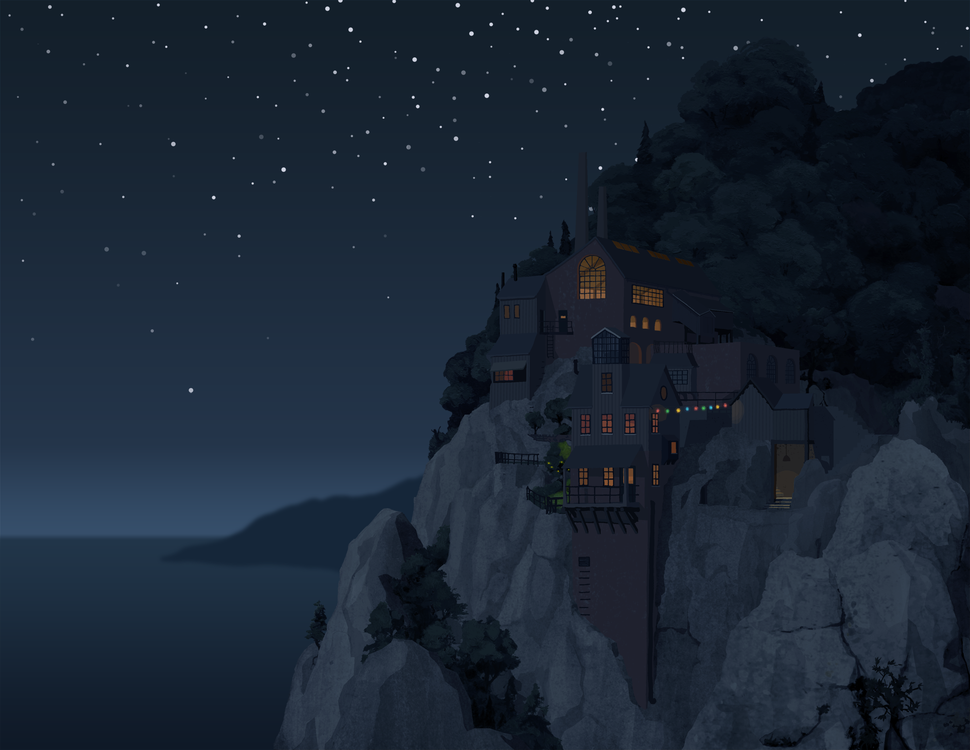 A fictional cliff side, illustrated in a fairly realistic style, stars above, and set into the cliff face is a large factory - our fictional 'good factory' - die gute fabrik